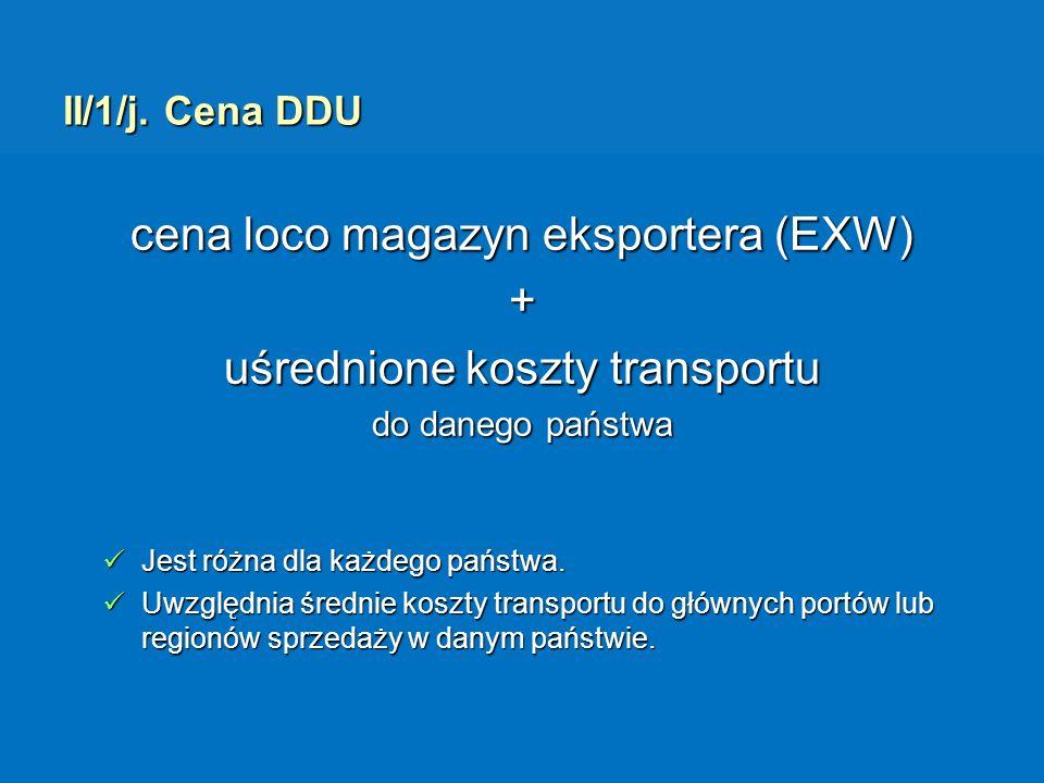 cena loco magazyn eksportera (EXW) + uśrednione koszty transportu
