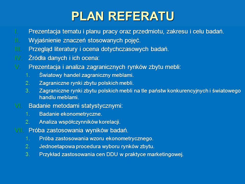 PLAN REFERATU Prezentacja tematu i planu pracy oraz przedmiotu, zakresu i celu badań. Wyjaśnienie znaczeń stosowanych pojęć.