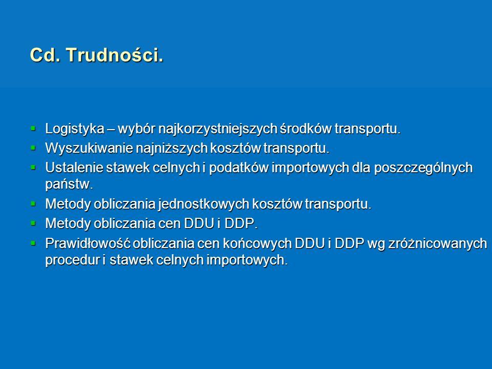 Cd. Trudności. Logistyka – wybór najkorzystniejszych środków transportu. Wyszukiwanie najniższych kosztów transportu.