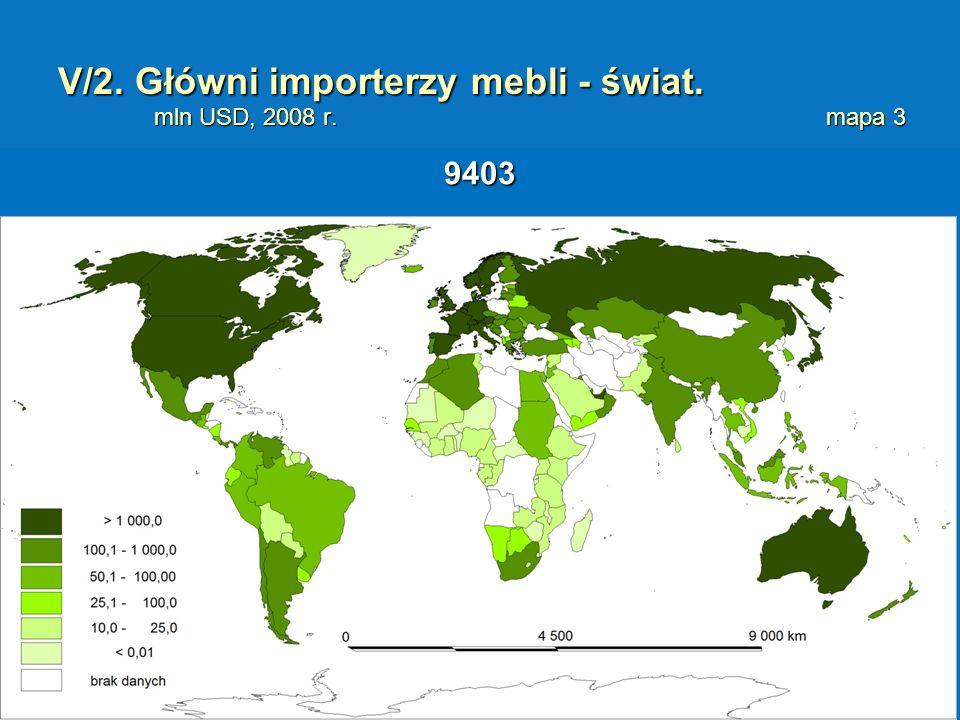 V/2. Główni importerzy mebli - świat. mln USD, 2008 r. mapa 3