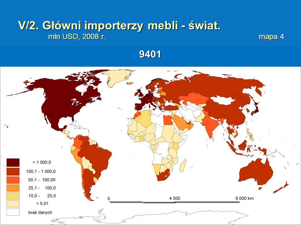 V/2. Główni importerzy mebli - świat. mln USD, 2008 r. mapa 4