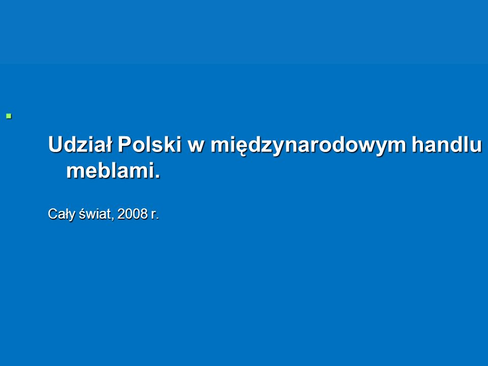 Udział Polski w międzynarodowym handlu meblami.
