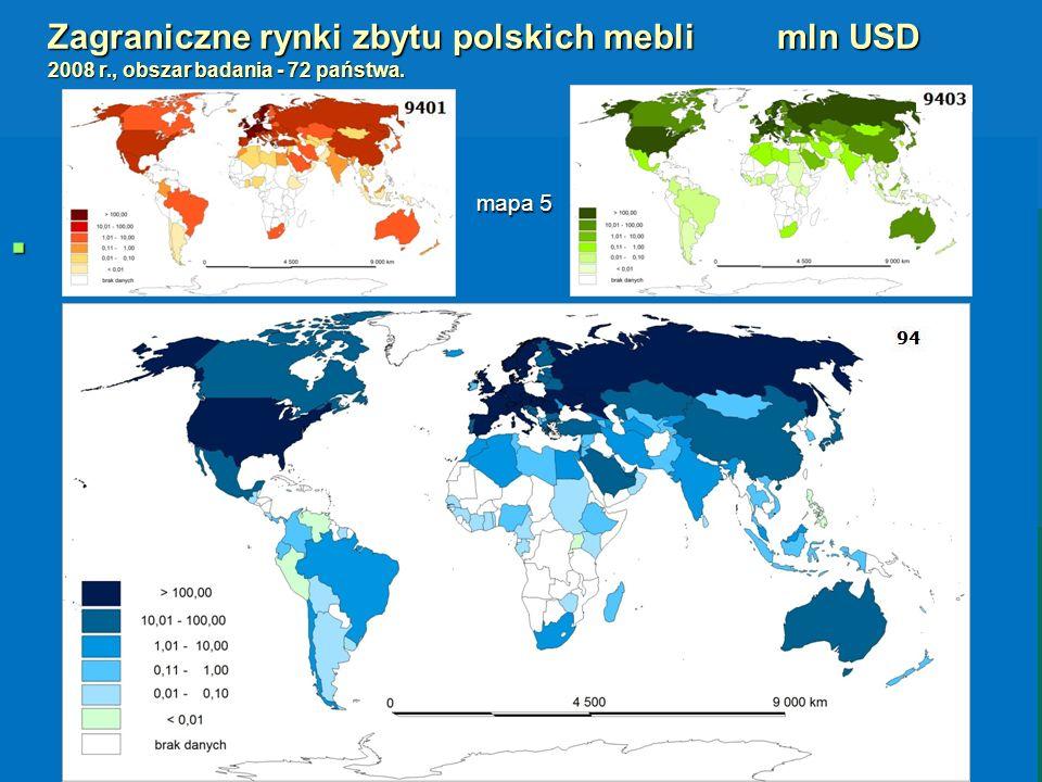 Zagraniczne rynki zbytu polskich mebli. mln USD 2008 r