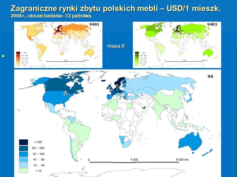Zagraniczne rynki zbytu polskich mebli – USD/1 mieszk. 2008 r