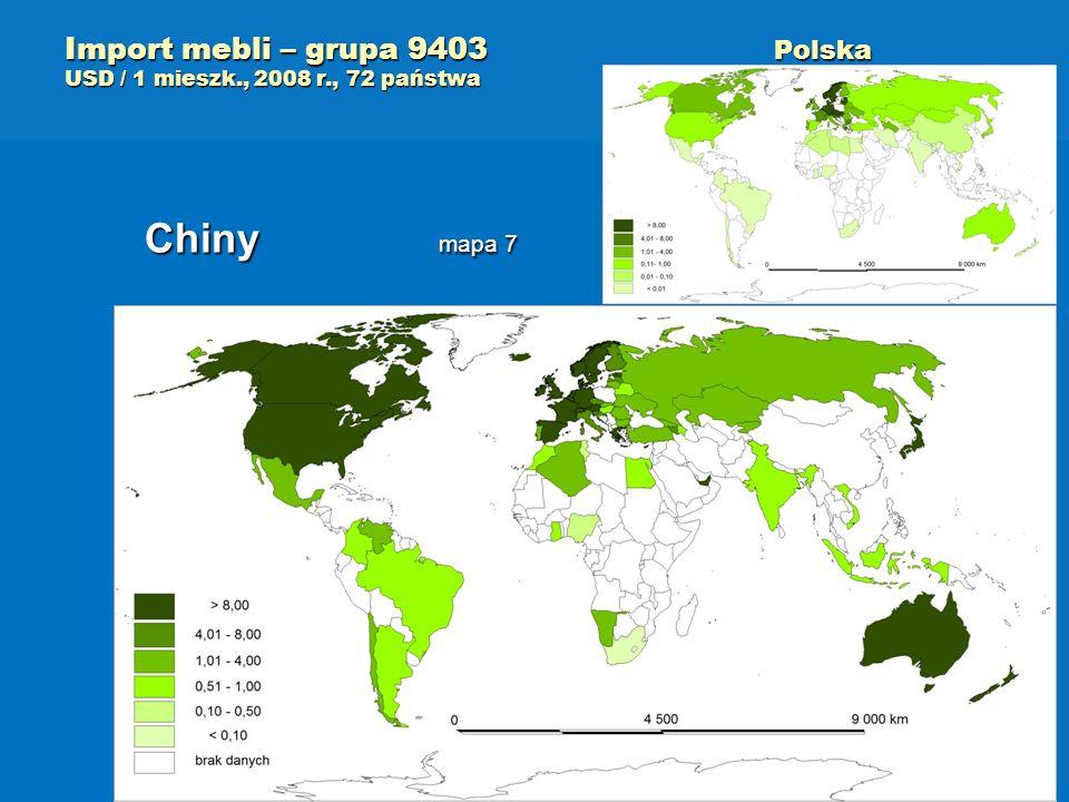 Import mebli – grupa 9403 Polska USD / 1 mieszk., 2008 r., 72 państwa