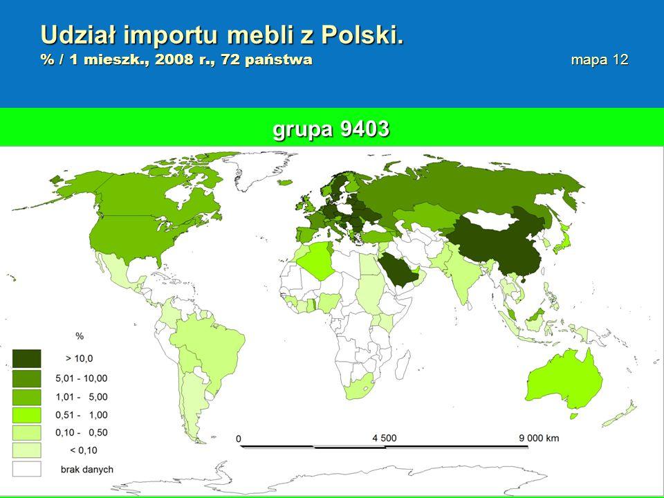 Udział importu mebli z Polski. % / 1 mieszk. , 2008 r. , 72 państwa