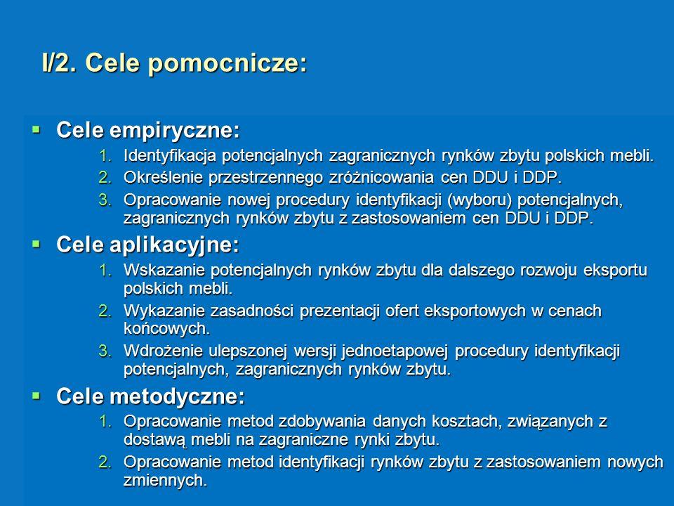 I/2. Cele pomocnicze: Cele empiryczne: Cele aplikacyjne: