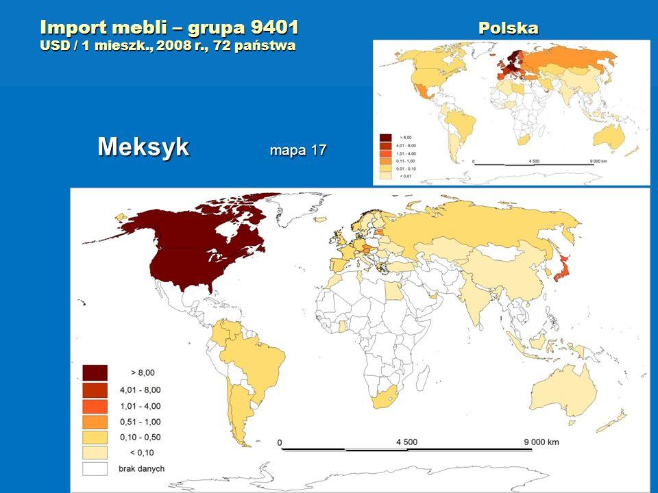 Import mebli – grupa 9401 Polska USD / 1 mieszk., 2008 r., 72 państwa