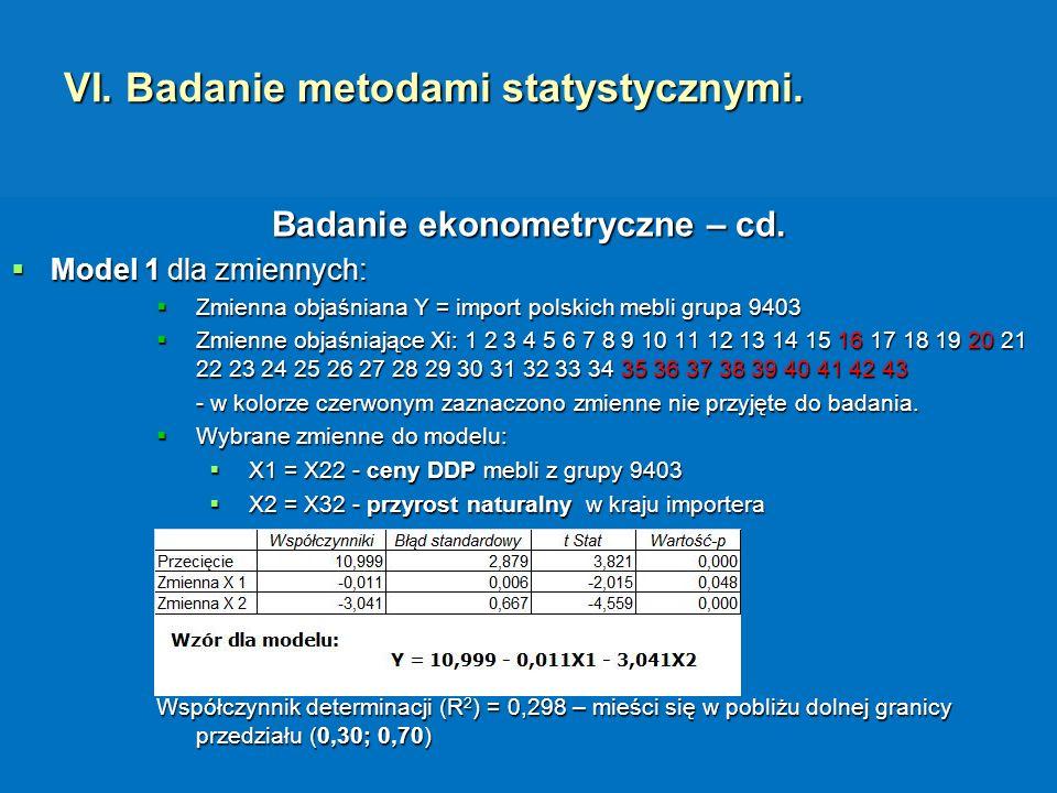 VI. Badanie metodami statystycznymi.