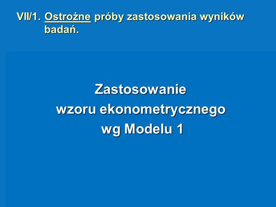 VII/1. Ostrożne próby zastosowania wyników badań.
