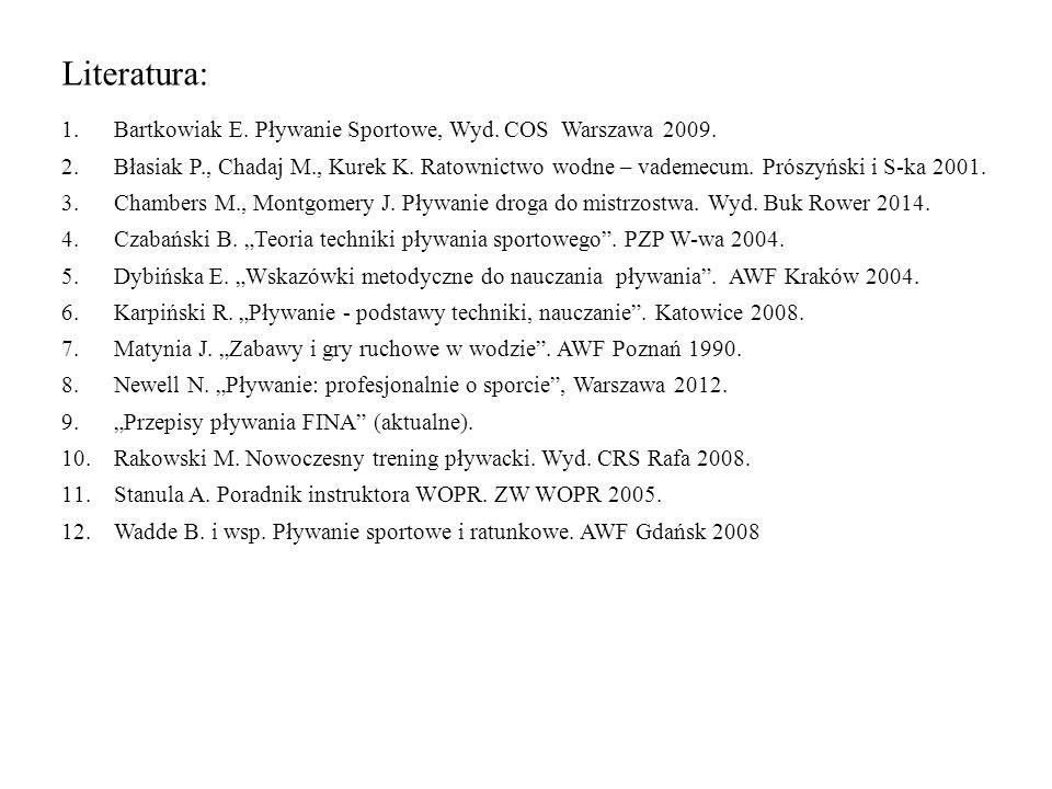 Literatura: Bartkowiak E. Pływanie Sportowe, Wyd. COS Warszawa 2009.