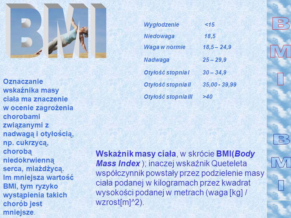 BMINiedowaga. 18,5. Waga w normie. 18,5 – 24,9. Nadwaga. 25 – 29,9. Otyłość stopnia I. 30 – 34,9. Otyłość stopnia II.