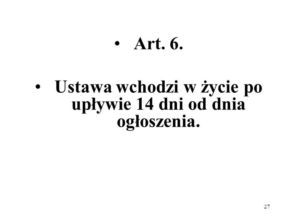 Ustawa wchodzi w życie po upływie 14 dni od dnia ogłoszenia.