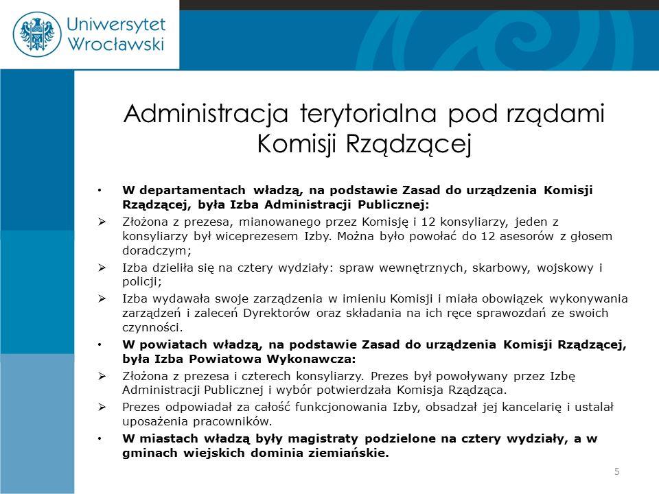 Administracja terytorialna pod rządami Komisji Rządzącej