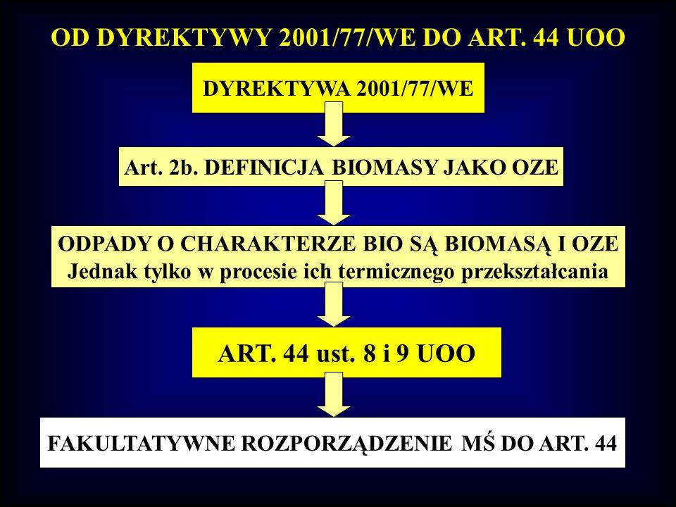 OD DYREKTYWY 2001/77/WE DO ART. 44 UOO ART. 44 ust. 8 i 9 UOO