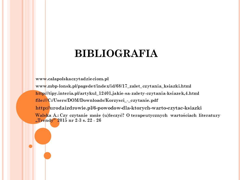BIBLIOGRAFIA www.calapolskaczytadzieciom.pl. www.mbp-lonsk.pl/pagedet/index/id/68/17_zalet_czytania_ksiazki.html.