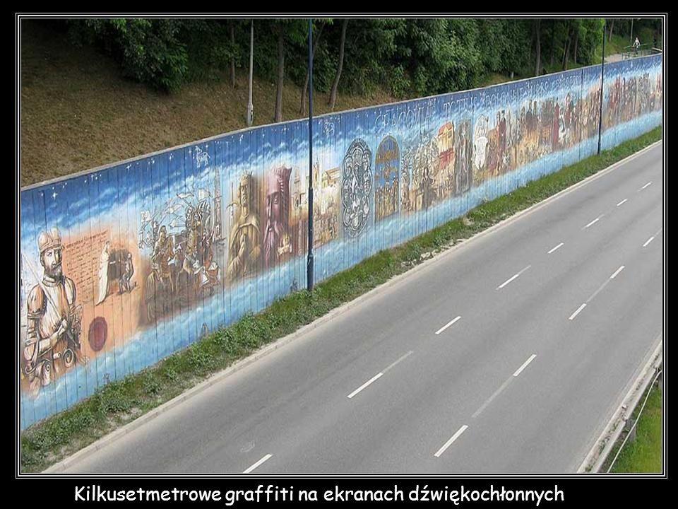 Kilkusetmetrowe graffiti na ekranach dźwiękochłonnych