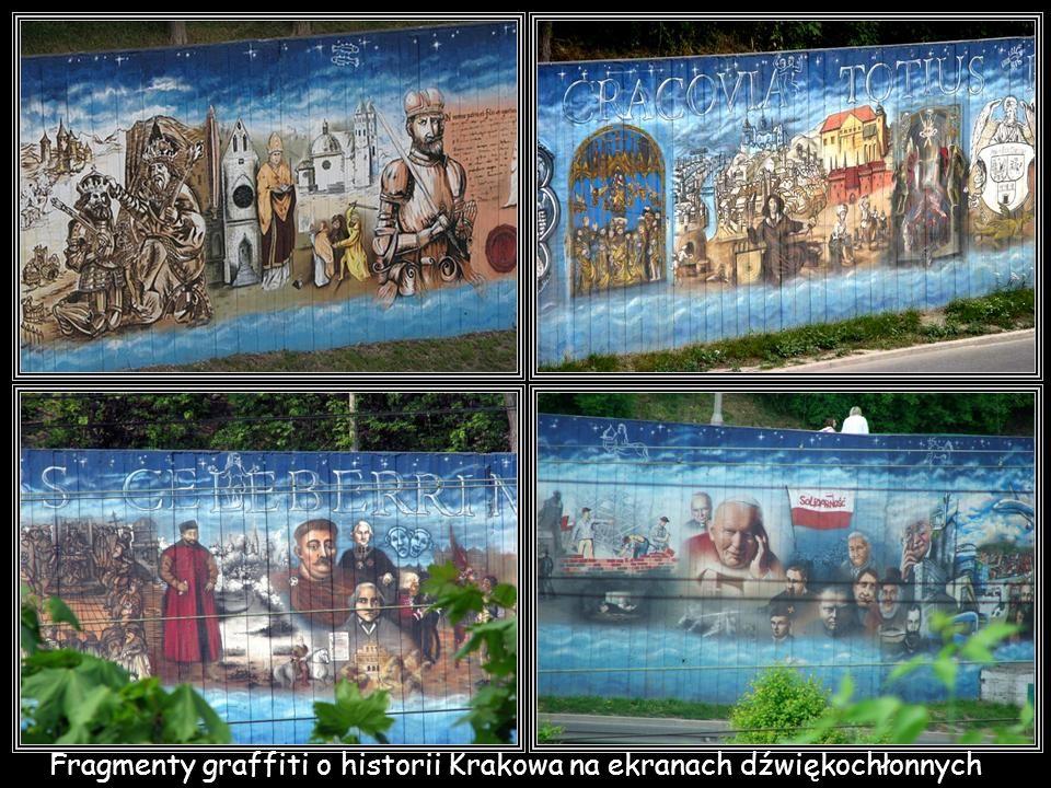 Fragmenty graffiti o historii Krakowa na ekranach dźwiękochłonnych