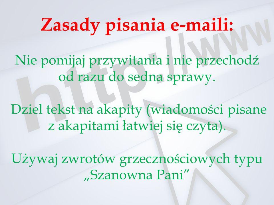 Zasady pisania e-maili: