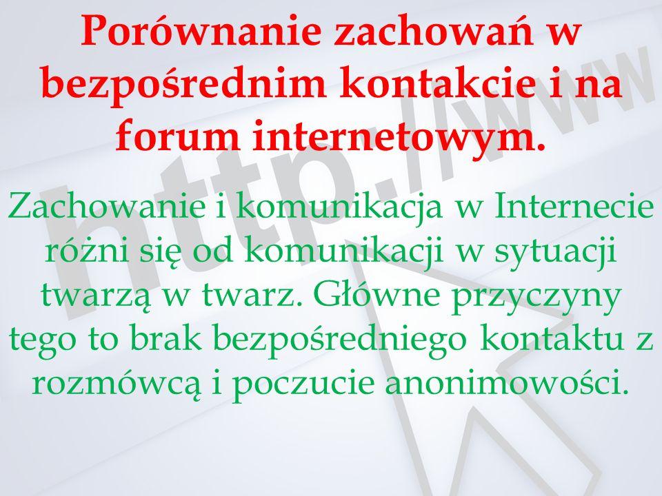 Porównanie zachowań w bezpośrednim kontakcie i na forum internetowym.