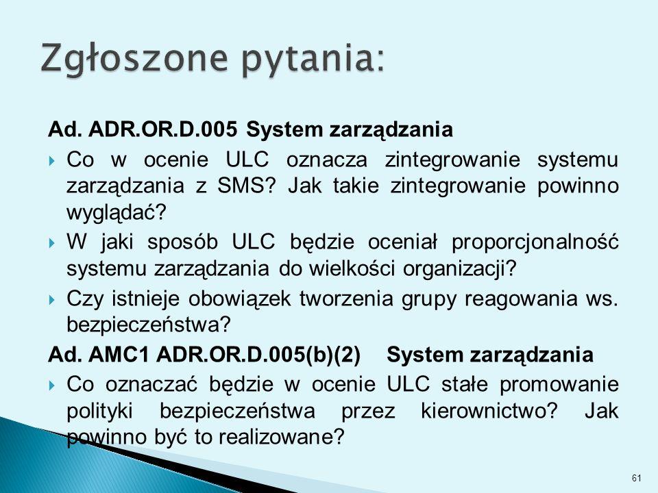 Zgłoszone pytania: Ad. ADR.OR.D.005 System zarządzania