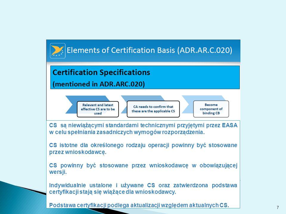 CS są niewiążącymi standardami technicznymi przyjętymi przez EASA w celu spełniania zasadniczych wymogów rozporządzenia.