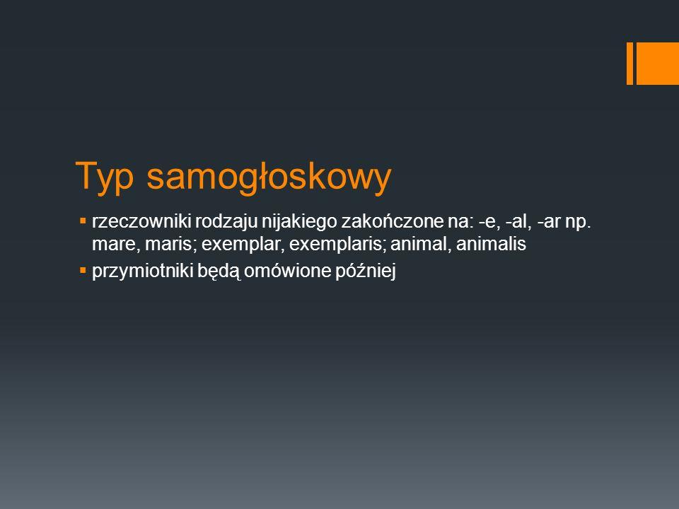 Typ samogłoskowy rzeczowniki rodzaju nijakiego zakończone na: -e, -al, -ar np. mare, maris; exemplar, exemplaris; animal, animalis.