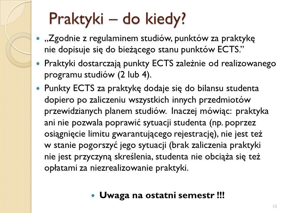 Uwaga na ostatni semestr !!!