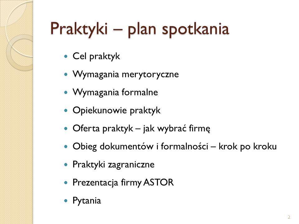 Praktyki – plan spotkania