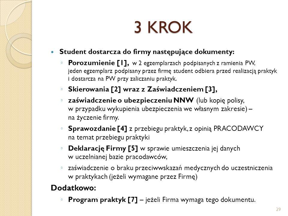 3 KROK Dodatkowo: Student dostarcza do firmy następujące dokumenty: