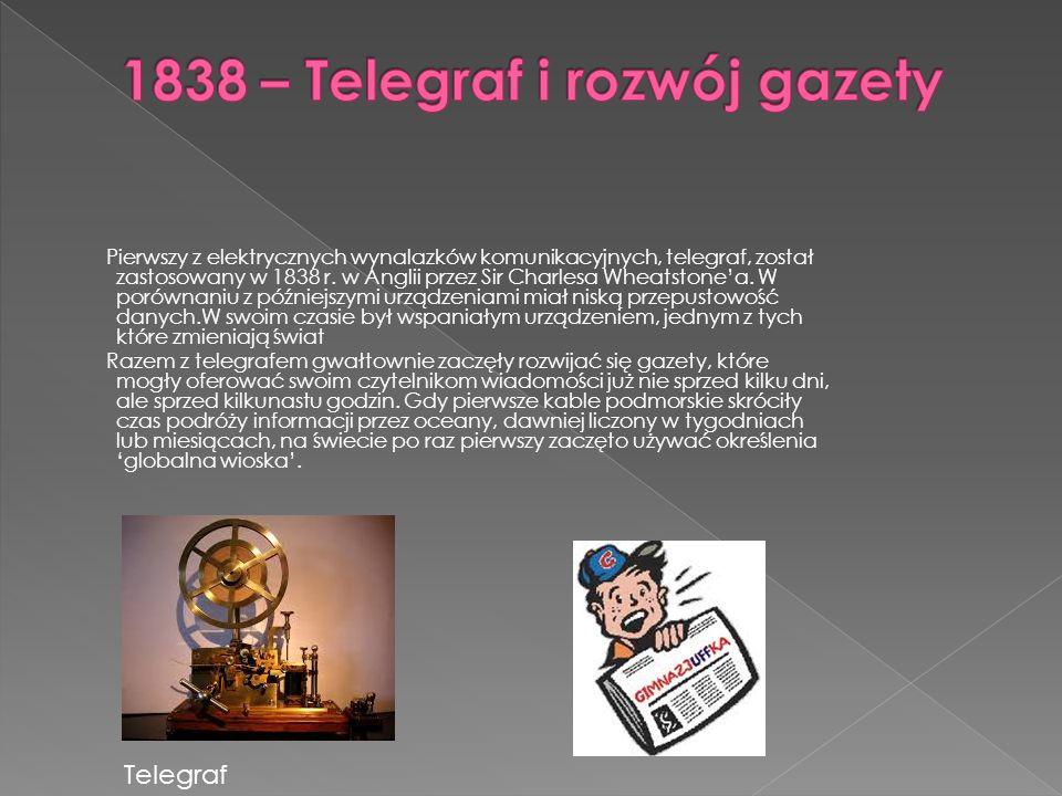 1838 – Telegraf i rozwój gazety