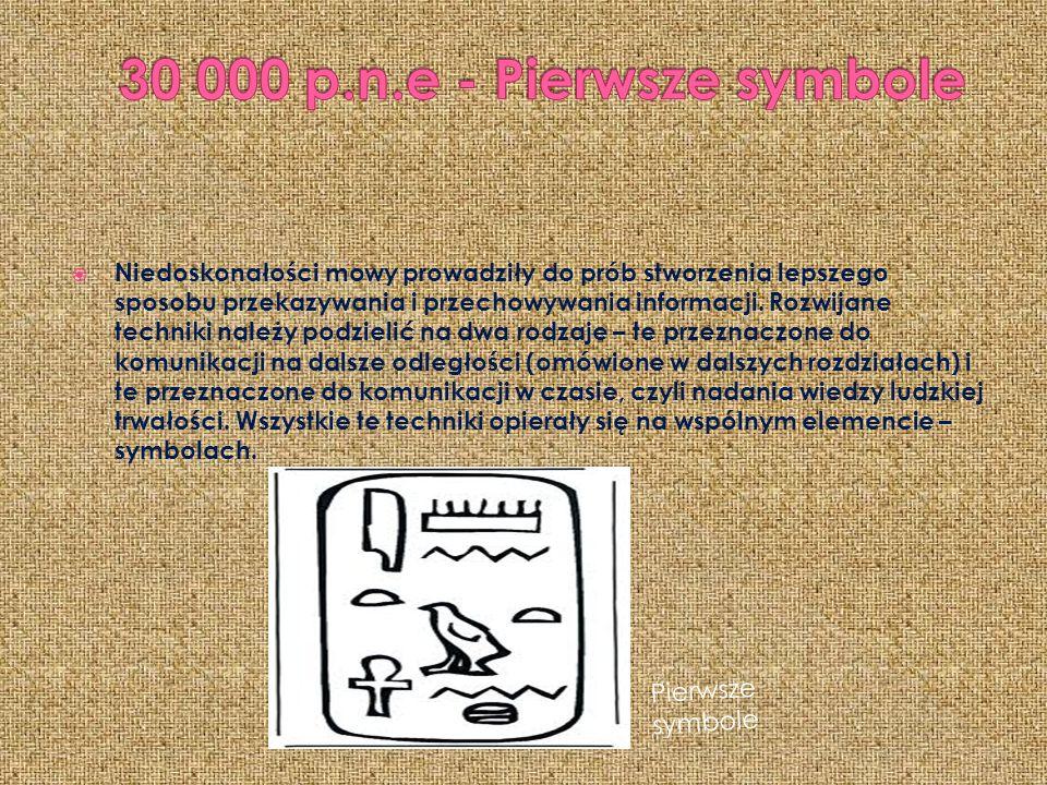 30 000 p.n.e - Pierwsze symbole Pierwsze symbole