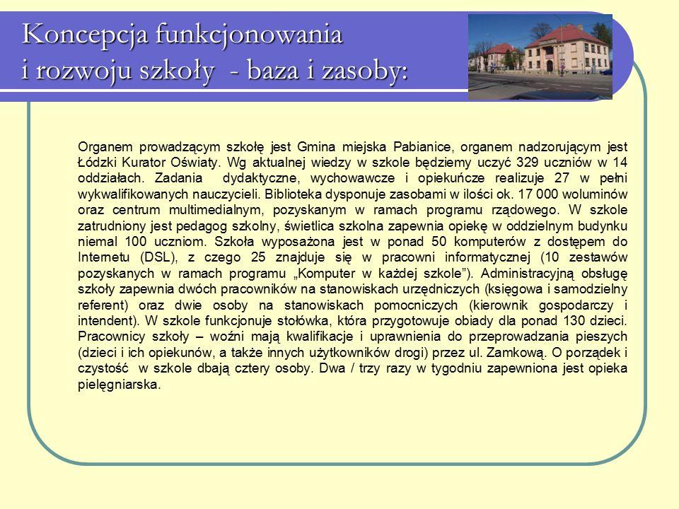 Koncepcja funkcjonowania i rozwoju szkoły - baza i zasoby: