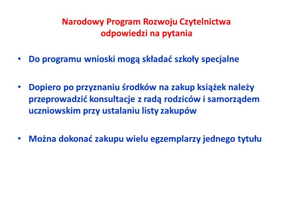 Narodowy Program Rozwoju Czytelnictwa odpowiedzi na pytania