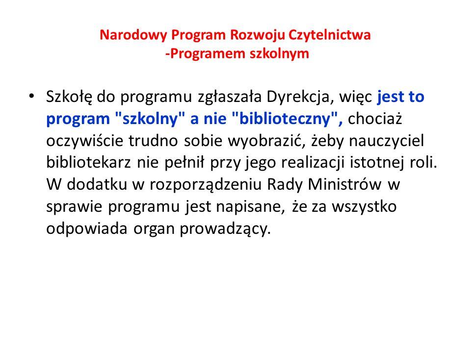 Narodowy Program Rozwoju Czytelnictwa -Programem szkolnym
