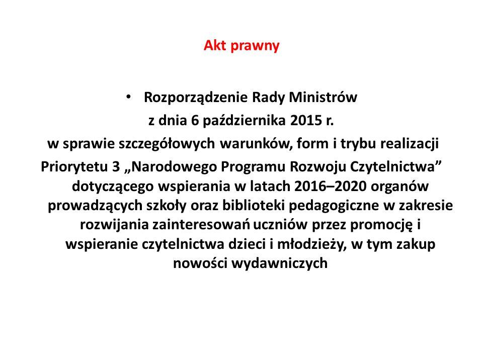Rozporządzenie Rady Ministrów z dnia 6 października 2015 r.