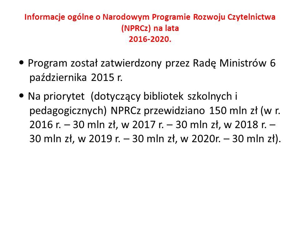 Informacje ogólne o Narodowym Programie Rozwoju Czytelnictwa (NPRCz) na lata 2016-2020.