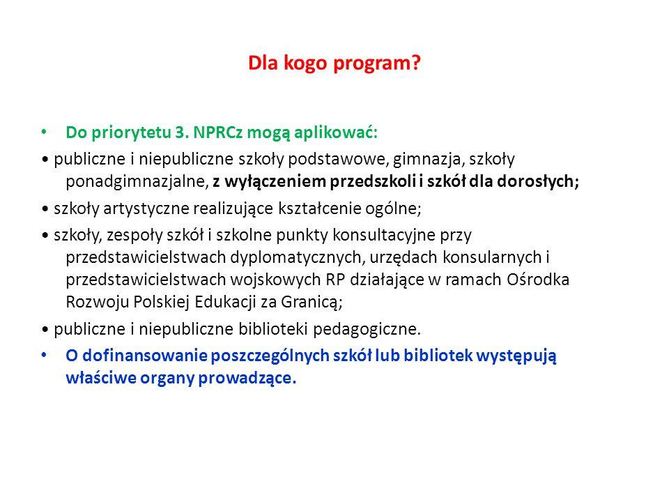 Dla kogo program Do priorytetu 3. NPRCz mogą aplikować: