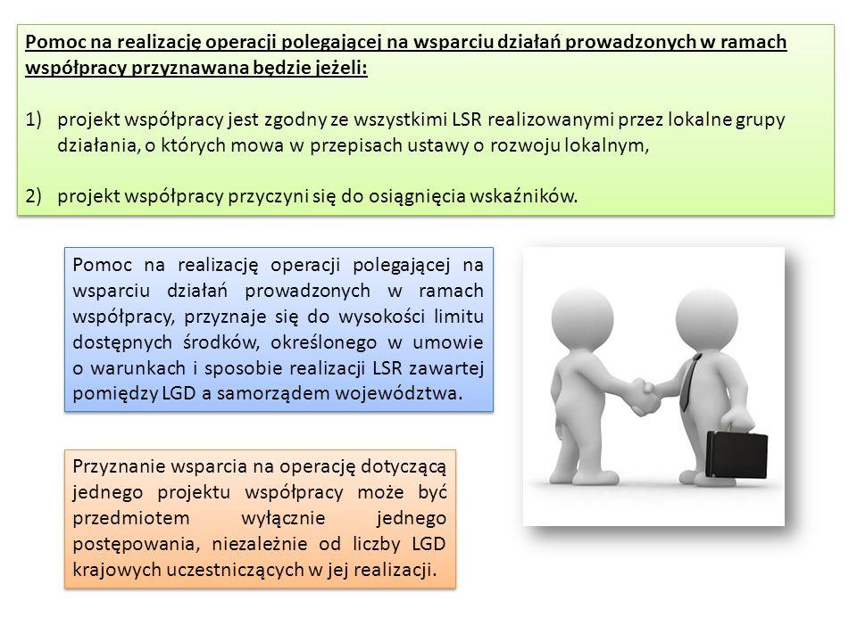 Pomoc na realizację operacji polegającej na wsparciu działań prowadzonych w ramach współpracy przyznawana będzie jeżeli:
