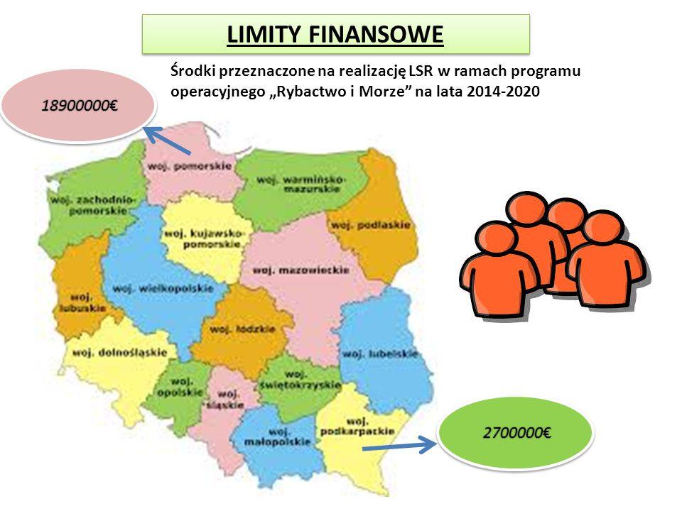 """LIMITY FINANSOWE Środki przeznaczone na realizację LSR w ramach programu operacyjnego """"Rybactwo i Morze na lata 2014-2020."""