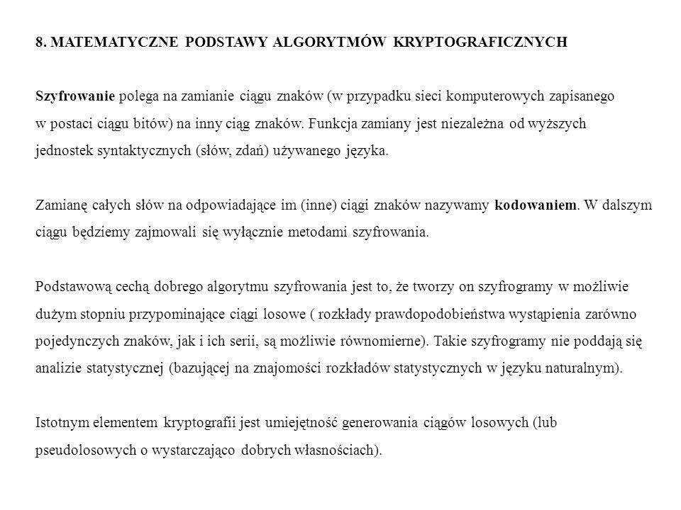 8. MATEMATYCZNE PODSTAWY ALGORYTMÓW KRYPTOGRAFICZNYCH