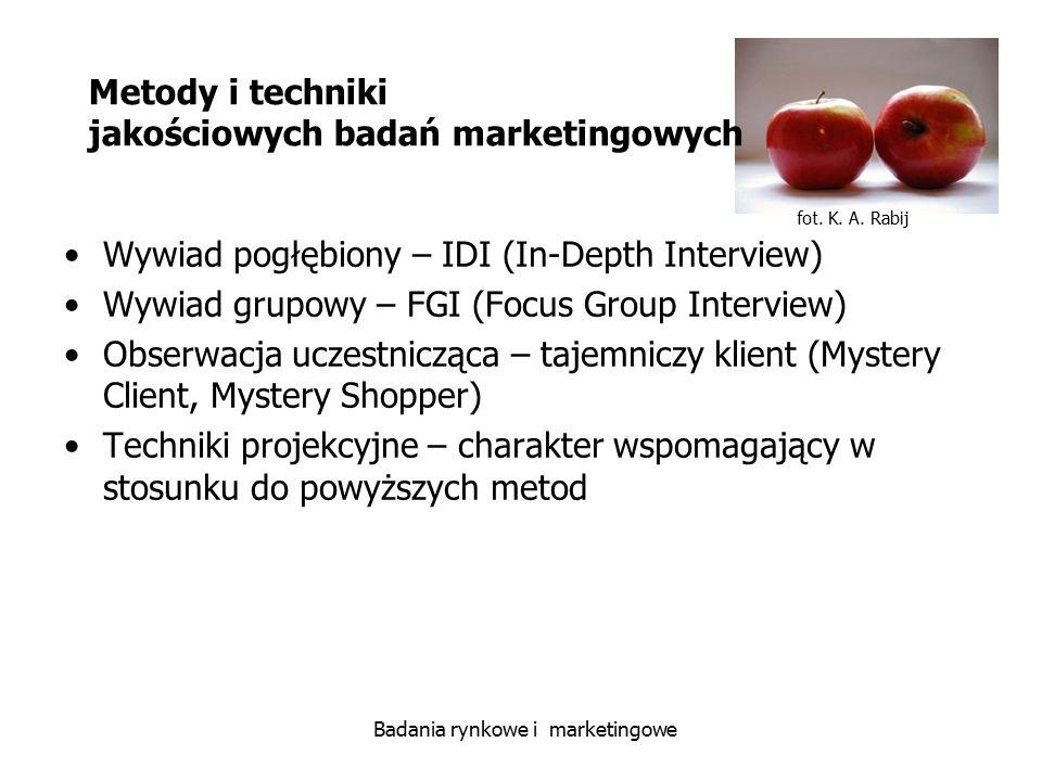 Metody i techniki jakościowych badań marketingowych