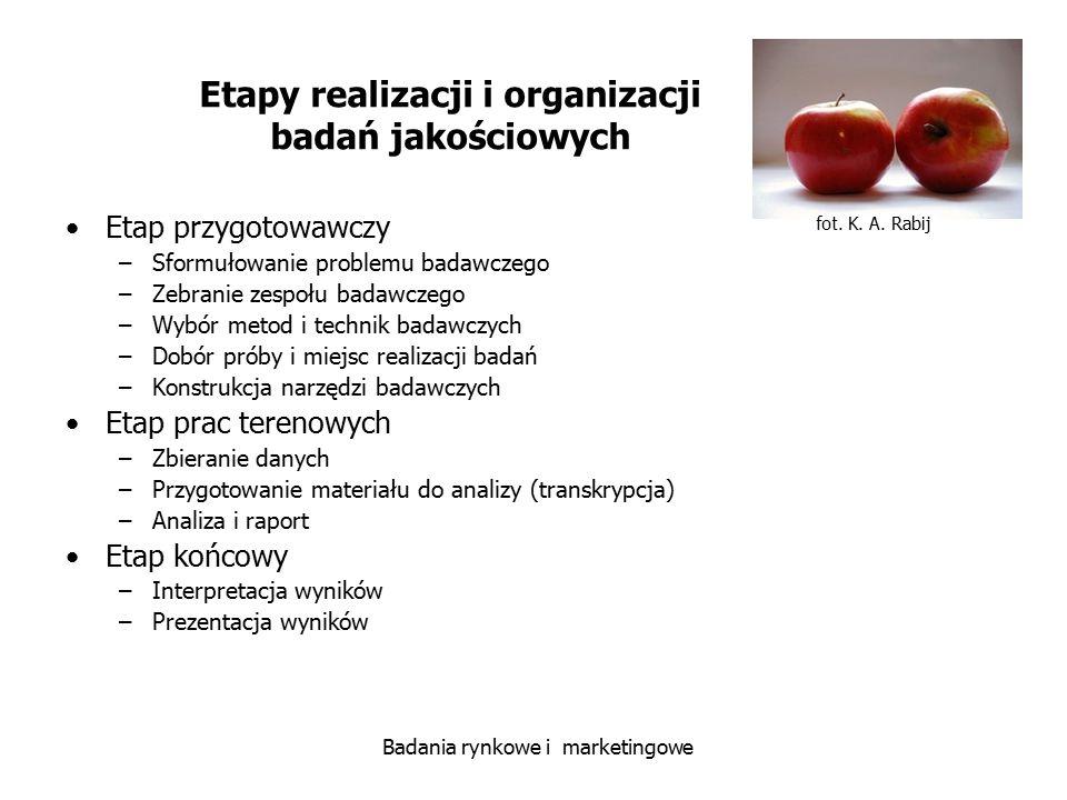 Etapy realizacji i organizacji badań jakościowych
