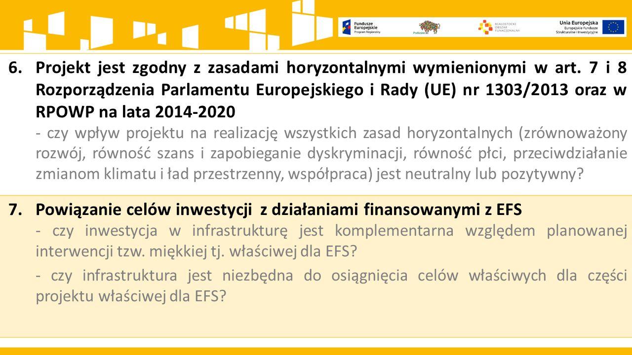 Powiązanie celów inwestycji z działaniami finansowanymi z EFS