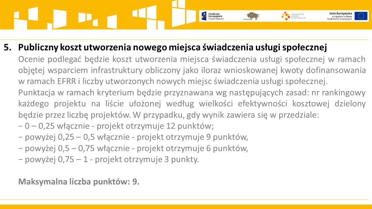 5. Publiczny koszt utworzenia nowego miejsca świadczenia usługi społecznej.