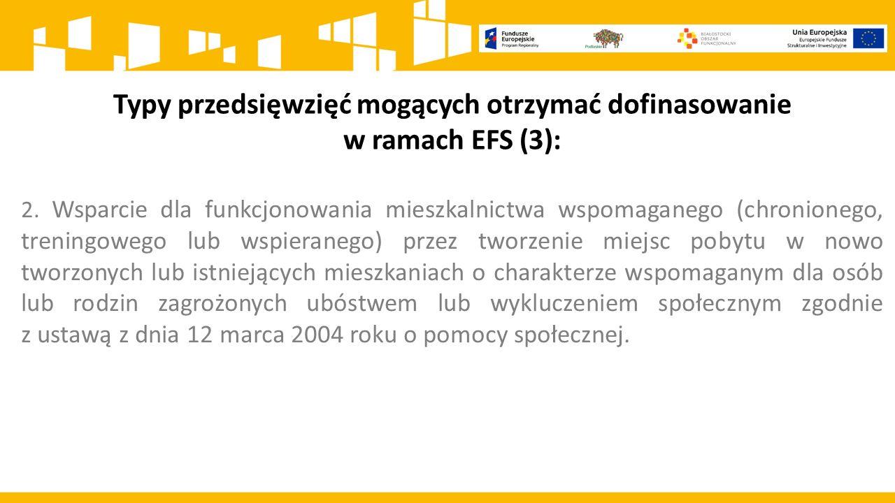 Typy przedsięwzięć mogących otrzymać dofinasowanie w ramach EFS (3):