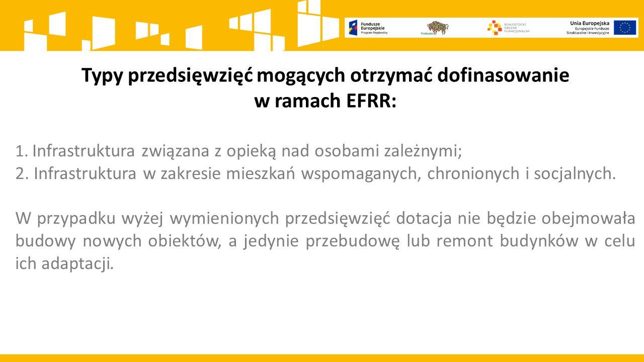 Typy przedsięwzięć mogących otrzymać dofinasowanie w ramach EFRR: