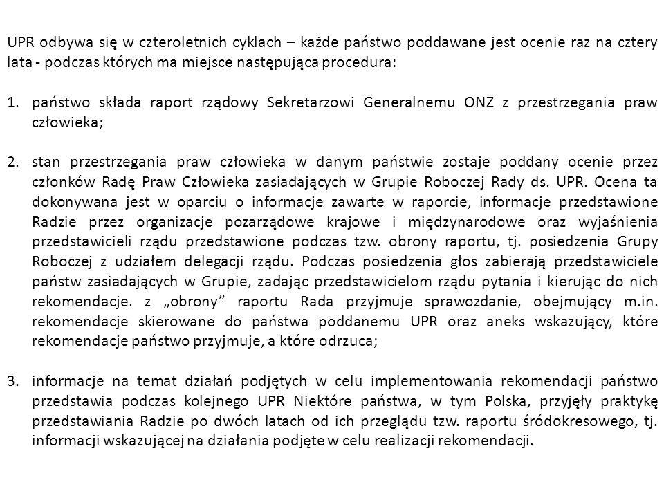 UPR odbywa się w czteroletnich cyklach – każde państwo poddawane jest ocenie raz na cztery lata - podczas których ma miejsce następująca procedura: