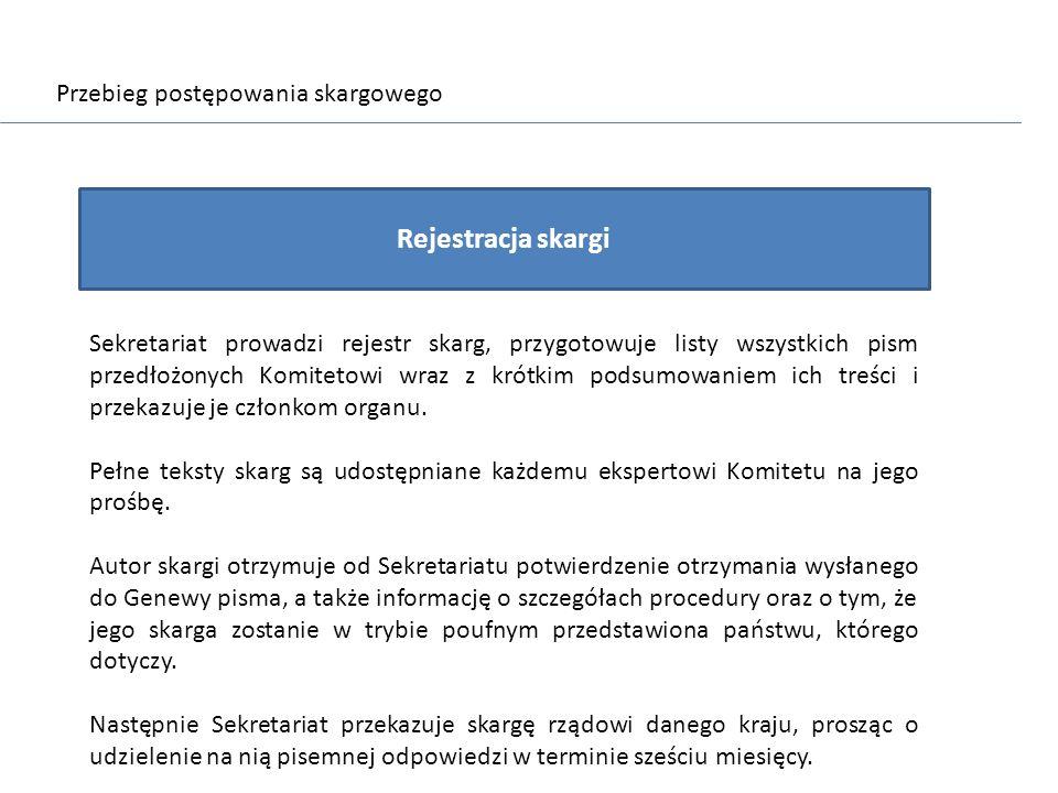 Rejestracja skargi Przebieg postępowania skargowego
