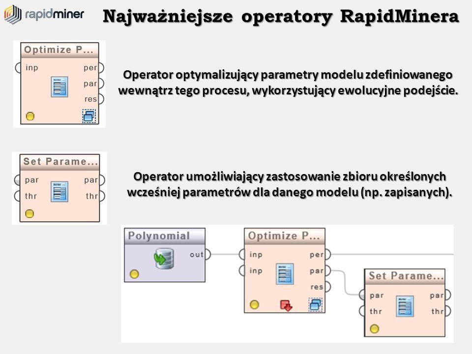 Najważniejsze operatory RapidMinera